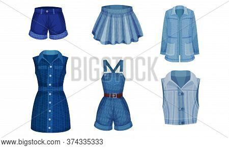 Denim Blue Clothing Items As Womenswear With Denim Dress And Skirt Vector Set