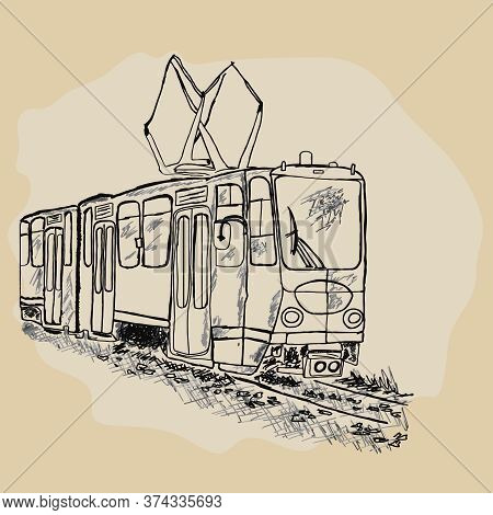 Tram Isolated On White Background. Public Transport. Hand Drawn Retro Tram Sketch. City Trolley. Pas