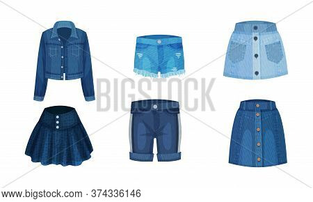 Denim Blue Clothing Items As Womenswear With Denim Jacket And Skirt Vector Set