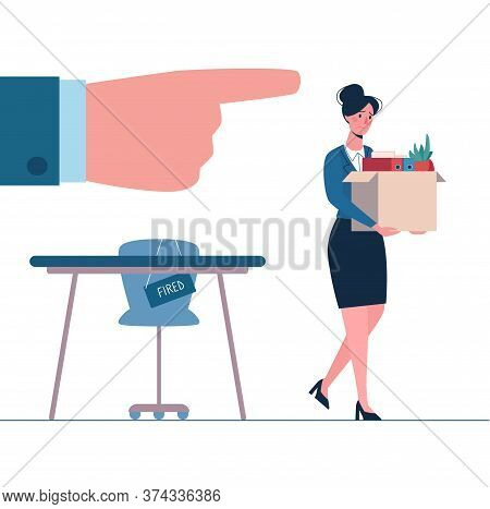 Fired Person Leaves The Office With A Box In His Hands. Woman Without Work. Job Loss Due To Crisis,