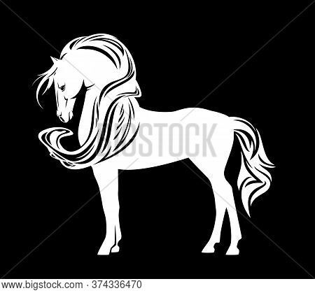 Beautiful White Horse With Long Mane - Standing Mustang Vector Outline On Black Background