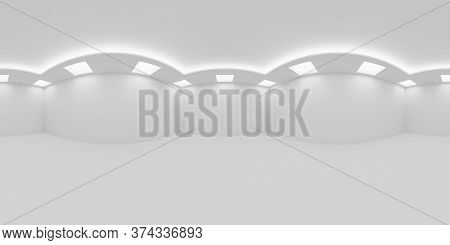Hdri Environment Map Of Empty White Room With White Wall, Floor And Ceiling With Square Embedded Cei