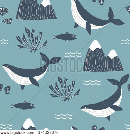 Simple Whale Orcas, Monochrome Mountains And Sea Shells Blue Background Seamless Pattern. Vector Ill