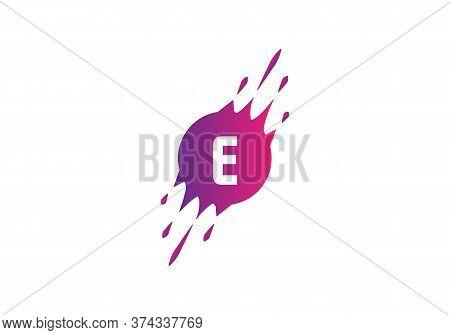 E Letter Logo. E Dot Letter Logo Where Pixel Are Flying With Letter Bit Both Side. Minimalist Slice