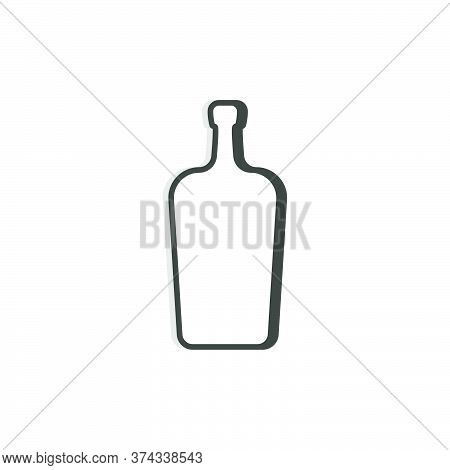 Liquor Bottle Line. Simple Template. Isolated Object. Symbol In Thin Lines For Alcoholic Institution