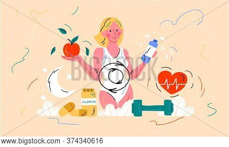 Healthy Diet And Metabolism Concept With A Young Woman Holding A Bottle Of Water And Tomato Above A