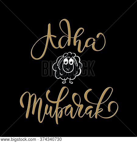 Adha Mubarak Greeting Card With Sheep And Lettering Calligraphy