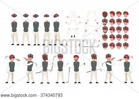 Golfer Character Constructor. Man Golfer Creation Set. Different Equipments, Postures, Emotions, Bod