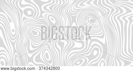 Optical Illusion Wide Banner, Background With Distorted Lines, Black And White Poster. Op Illusion C