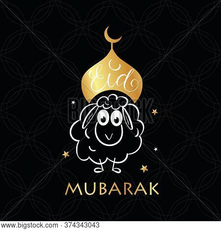 Eid Mubarak Greeting Card With Sheep And Lettering Calligraphy.