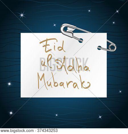 Eid Al Adha Mubarak Greeting With Islamic Luxury Design And Lettering Calligraphy.