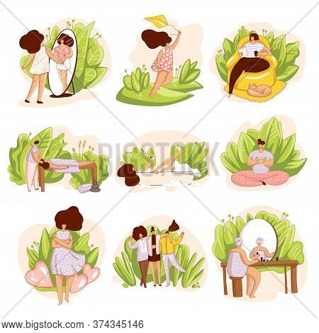 Vector Set Of Girls, Woman Taking Care Of Yourself. Spa Salon, Massage, Reading A Book Alone, Happyn