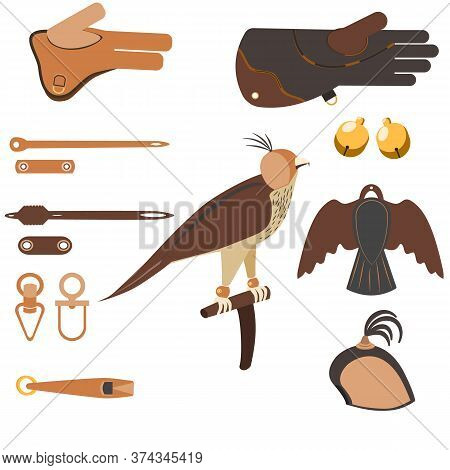 Set Of Equipment For Falconry And Training Birds Of Prey: Falconry Perch, Jess, Gauntlet, Anklets, B