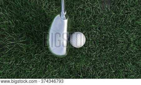 3d Render Golf Club Hits A Golf Ball