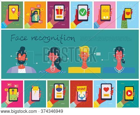 Facial Recognition Concept. Face Id, Face Recognition System With Intellectual Learning System. Flat