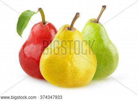 Isolated Pear Fruits. Yellow, Green And Red Pears Isolated Over White Background