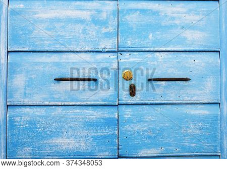 Detail Of Blue Wooden Door With Ancient And New Door Lock - Old Traditional Blue Wooden Door And Anc
