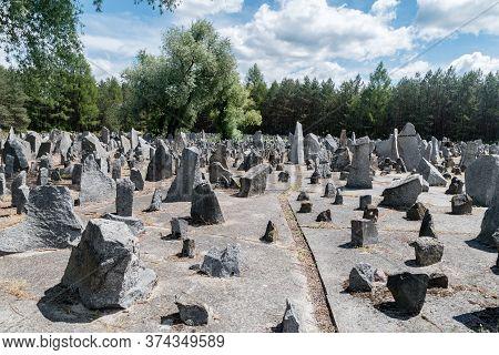 Wolka Okraglik, Poland - June 2, 2020: Lots Of Stones Symbolising Gravestones. Inscriptions Indicate