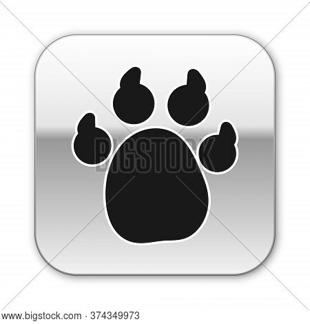 Black Paw Print Icon Isolated On White Background. Dog Or Cat Paw Print. Animal Track. Silver Square