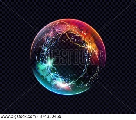 Electric Ball. Lightning Circle. Thunderbolt. Vector Electric Discharge Effect. The Light Sphere In