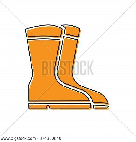 Orange Fishing Boots Icon Isolated On White Background. Waterproof Rubber Boot. Gumboots For Rainy W