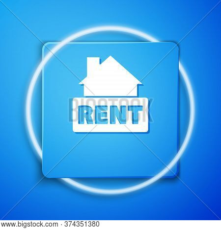 White Hanging Sign With Text Rent Icon Isolated On Blue Background. Signboard With Text For Rent. Bl