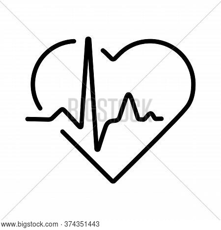 Heart Cardiogram, Heartbeat Vector Icon. Medicine And Medical Support Sign. Graph Symbol For Medical