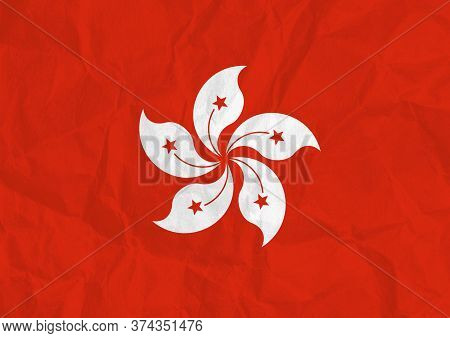 A Distressed Hong Kong Flag Design Illustration With Crumpled Paper Texture And Copy Space