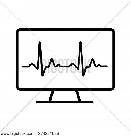 Computer Diagnostics Vector Icon. Medicine And Healthcare, Medical Support Sign. Graph Symbol For Me