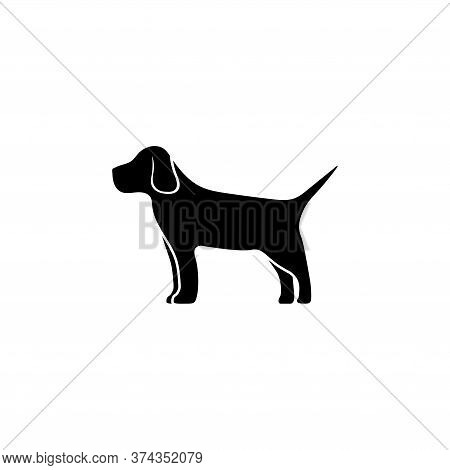 Thoroughbred Hound, Hunting Dog, Pet. Flat Vector Icon Illustration. Simple Black Symbol On White Ba