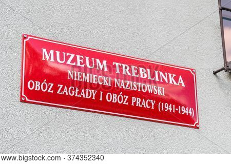 Wolka Okraglik, Poland - June 2, 2020: Sign Treblinka Museum, Nazi German Extermination And Forced L