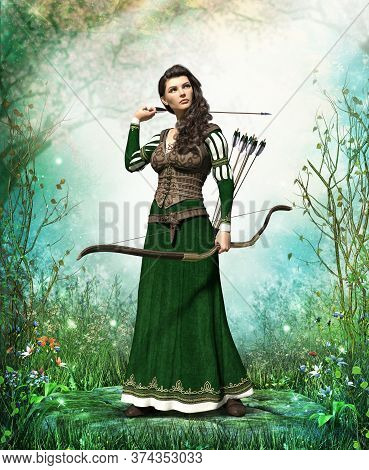 Fantasy Medieval Woman Archer Protecting A Mystery Forest With Bow And Arrow, 3d Render.