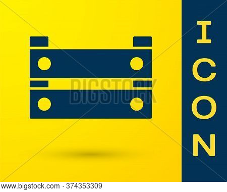 Blue Wooden Box Icon Isolated On Yellow Background. Grocery Basket, Storehouse Crate. Empty Wooden C