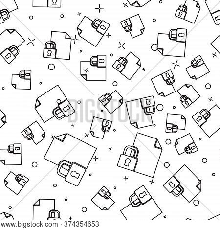 Black Line Document And Lock Icon Isolated Seamless Pattern On White Background. File Format And Pad
