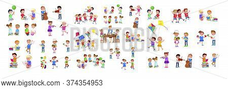 Cute Vector Child Playing With Ball, Read Book . Cheerful, Happy Kid Illustration. Detailed Characte