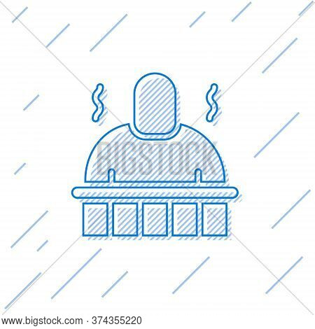 Blue Line Sauna And Spa Procedures Icon Isolated On White Background. Relaxation Body Care And Thera
