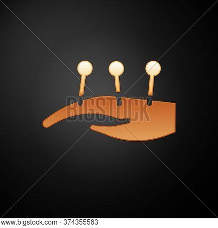 Gold Acupuncture Therapy On The Hand Icon Isolated On Black Background. Chinese Medicine. Holistic P