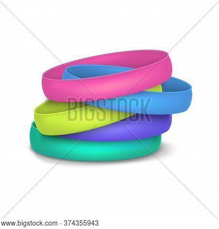 Realistic 3d Detailed Color Blank Promo Bracelets Empty Template Mockup Pile. Vector Illustration Of