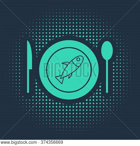 Green Served Fish On A Plate Icon Isolated On Blue Background. Abstract Circle Random Dots. Vector.