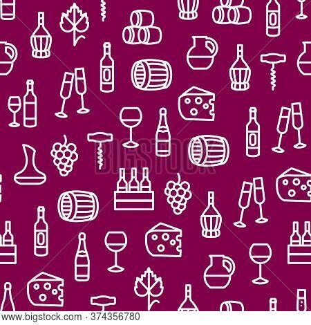 Wine Thin Line Concept Seamless Pattern Background Include Of Bottle, Barrel, Grape, Corkscrew, Wine