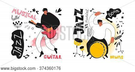 Set Of Jazz Musicians Drummer And Guitarist In The Style Of A Comic Book. Jazz Instruments Drums, Gu