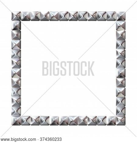 Square Realistic Frame From Silver Square Rivets Pyramid Claws For Leather. Slender On White Backgro
