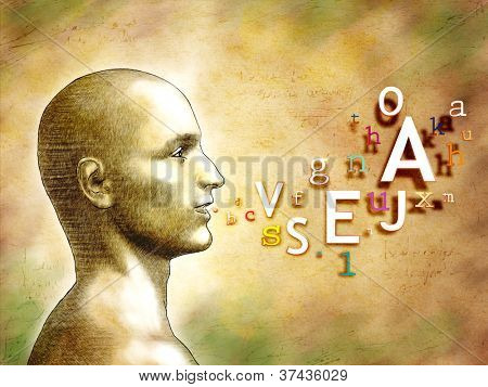 Male head with alphabet letters coming out from his mouth. Digital illustration.