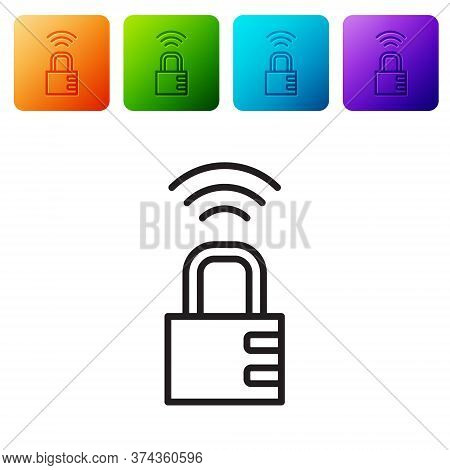 Black Line Smart Safe Combination Lock Icon Isolated On White Background. Combination Padlock. Secur