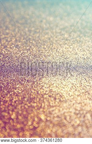 Light Gold Glitter Texture Sparkling Paper Background. Abstract Twinkled Glittering Background  With