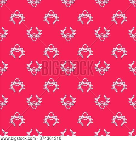 White Line Deer Antlers On Shield Icon Isolated Seamless Pattern On Red Background. Hunting Trophy O