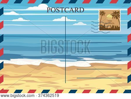 Postacrd Summer Vintage Beach Seaside Ocean. Vacation Travel Design Card With Postage Stamp. Vector