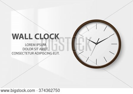 Vector 3d Realistic Simple Round Brown Wooden Wall Office Clock With White Dial Closeup Isolated On