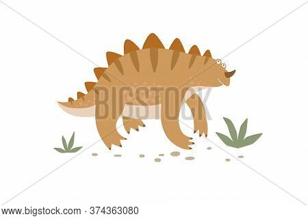 Funny Striped Dinosaur Walks In The Grass. Cute Monster Isolated On A White Background. Funny Prehis
