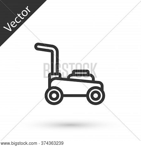 Grey Line Lawn Mower Icon Isolated On White Background. Lawn Mower Cutting Grass. Vector